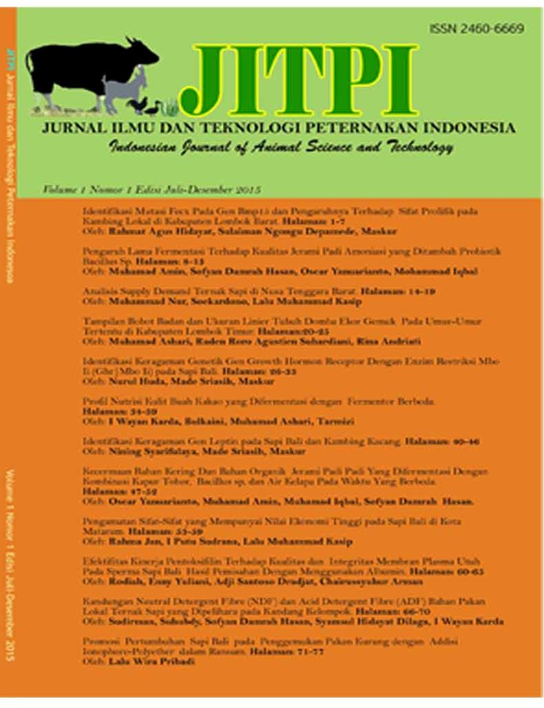 JURNAL ILMU DAN TEKNOLOGI PETERNAKAN INDONESIA Vol 1 2015/ Indonesian Journal of Animal Science and Technology Vol 1 2015