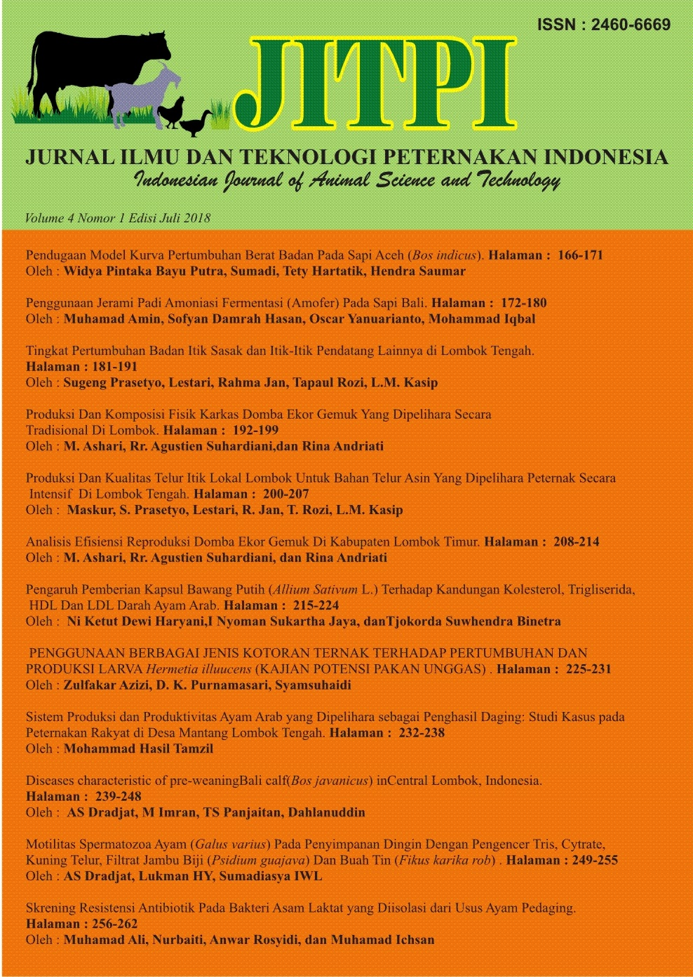JURNAL ILMU DAN TEKNOLOGI PETERNAKAN INDONESIA Vol 3 2018/ Indonesian Journal of Animal Science and Technology Vol 3 2018